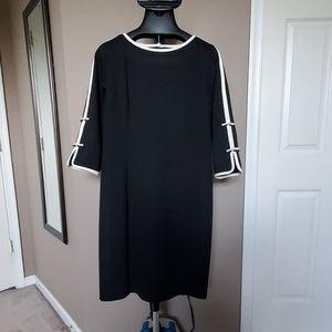 Talbots Black & White Ponte Knit Dress w Bows, S14